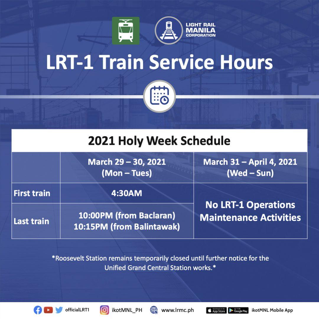 LRMC announces LRT-1 2021 Holy Week schedule