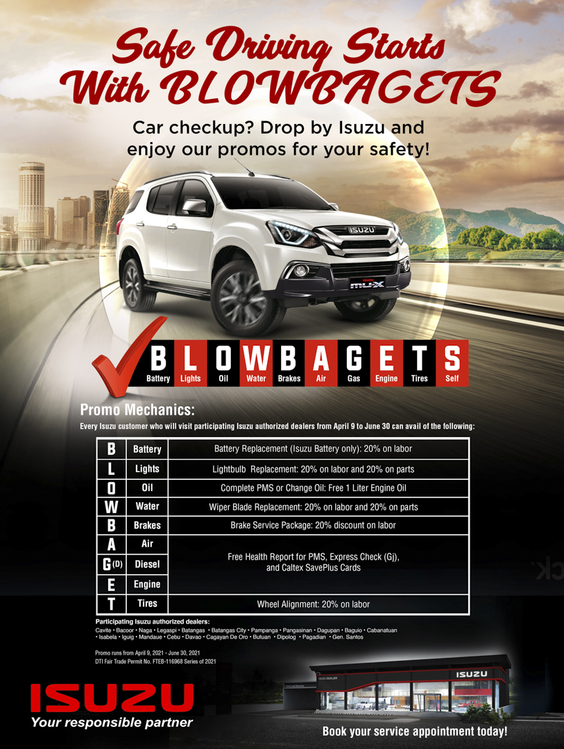 Safe driving this summer starts with BLOWBAGETS at your nearest Isuzu dealership