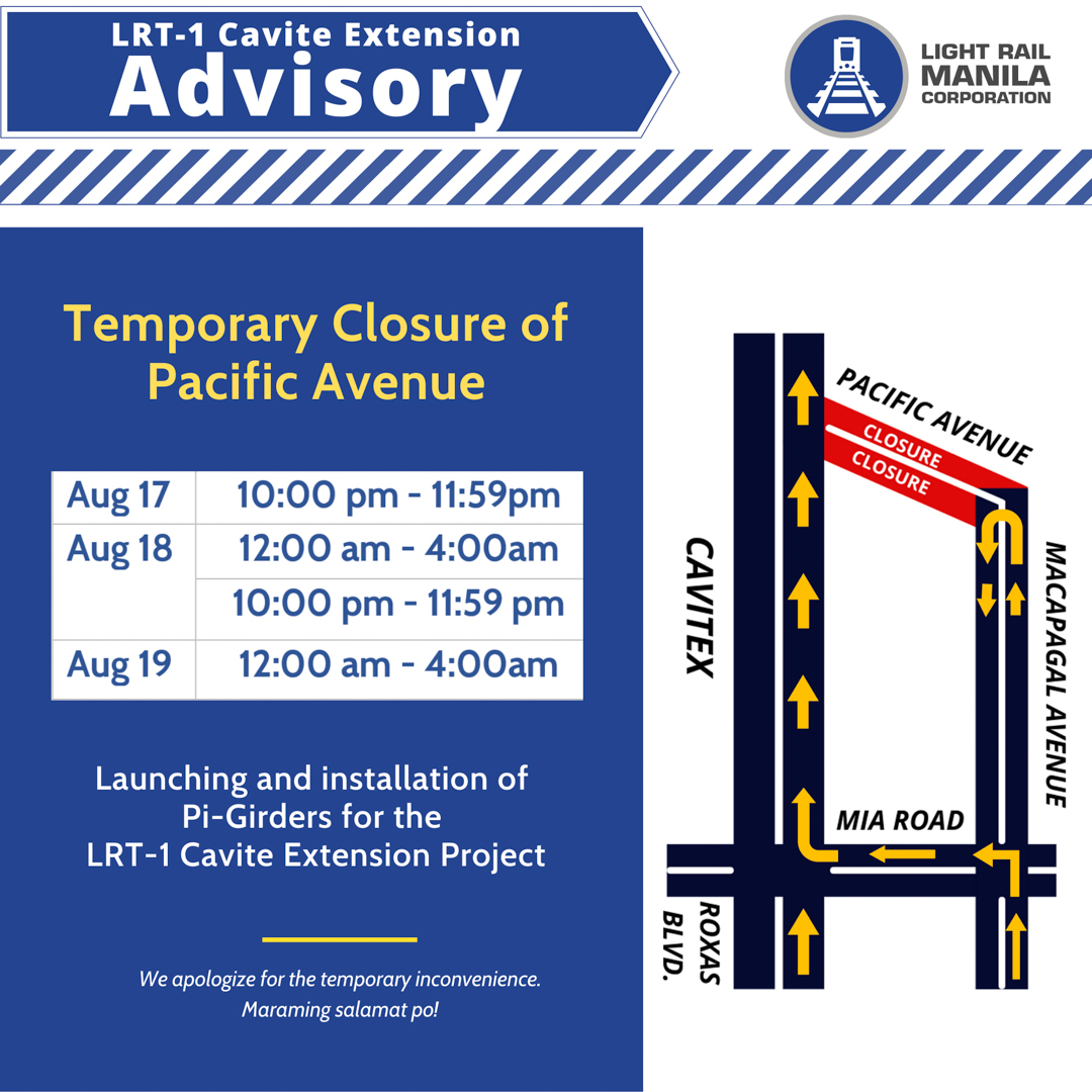 LRMC announces temporary closure of Pacific Avenue  for LRT-1 Cavite Extension works