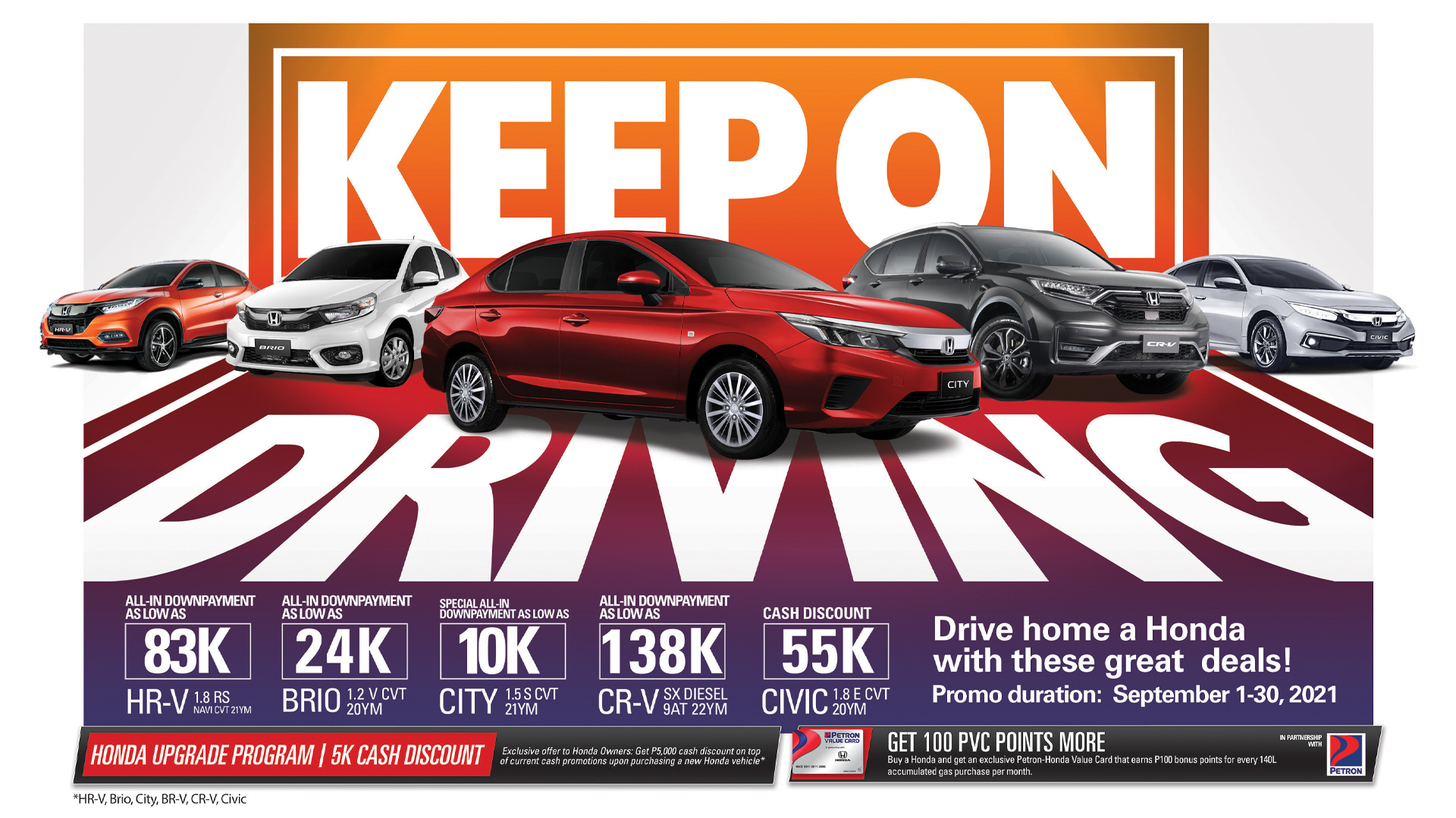 """Honda extends """"Keep on Driving"""" promo until end of September"""